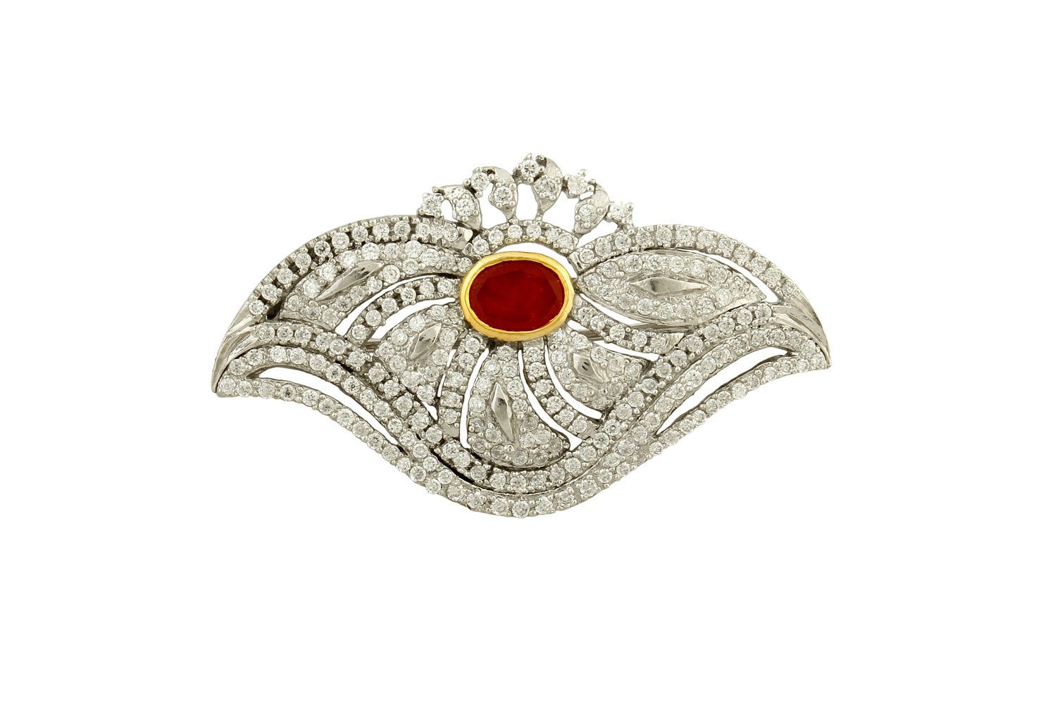 Silver Gold Plated Ruby & Zircon Brooch
