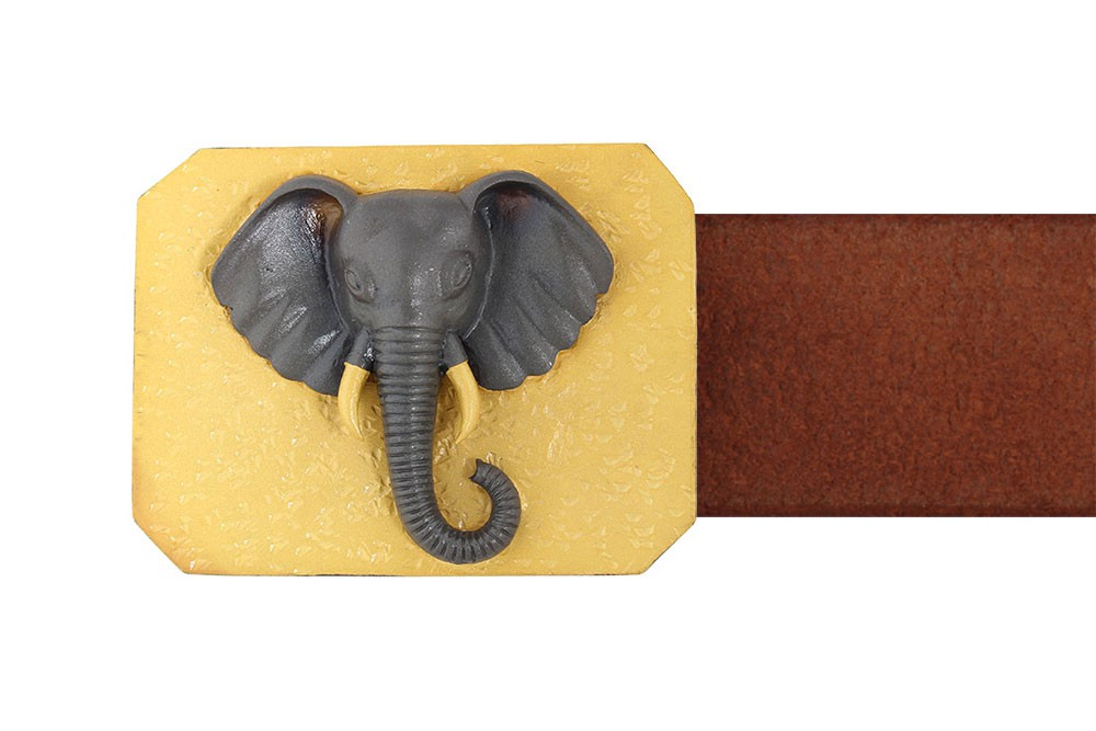 Silver Alloy Gold Plated with Black Rhodium Elephant Belt Buckle
