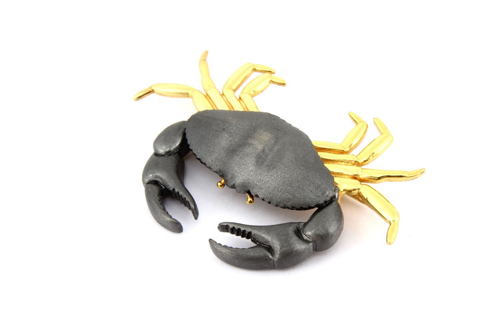 Silver Alloy Gold Plated with Black Rhodium Crab Brooch