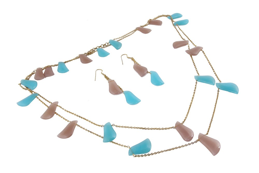 Silver Gold Plated Multi Gemstone Necklace Set