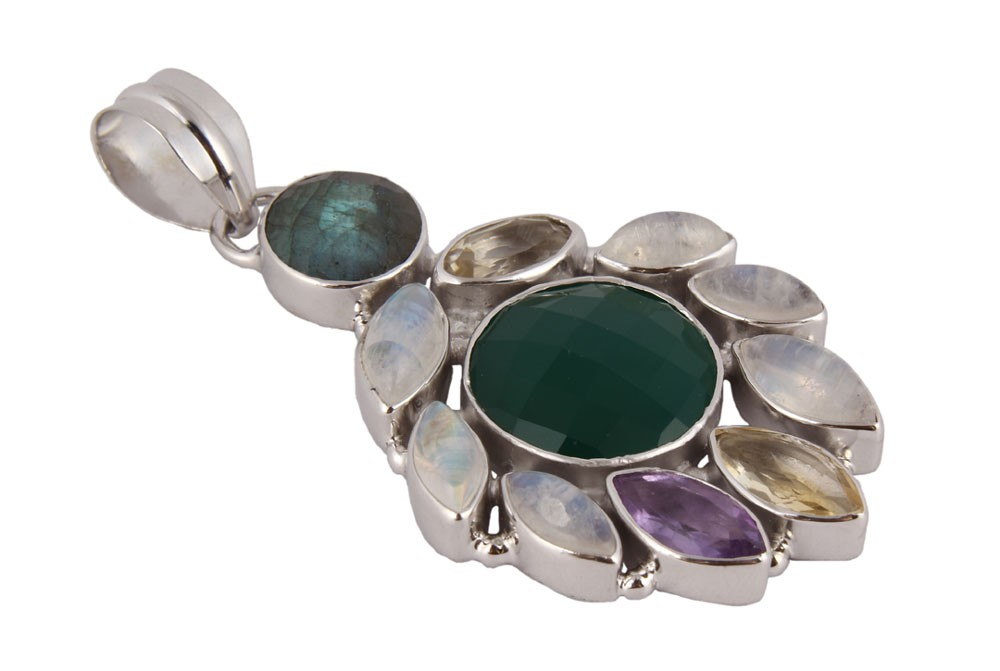 Silver Multi Color Gemstone Pendant