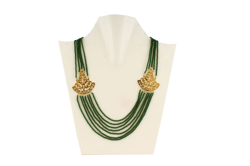 Silver Alloy Gold Plated Floral Green Beads Necklace