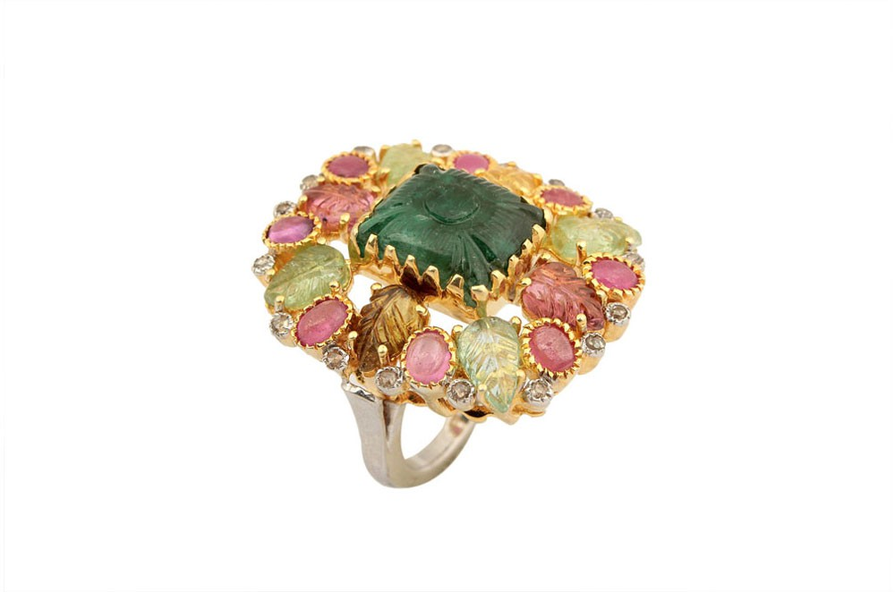 Silver Gold Plated Emerald & Tourmaline Floral Ring
