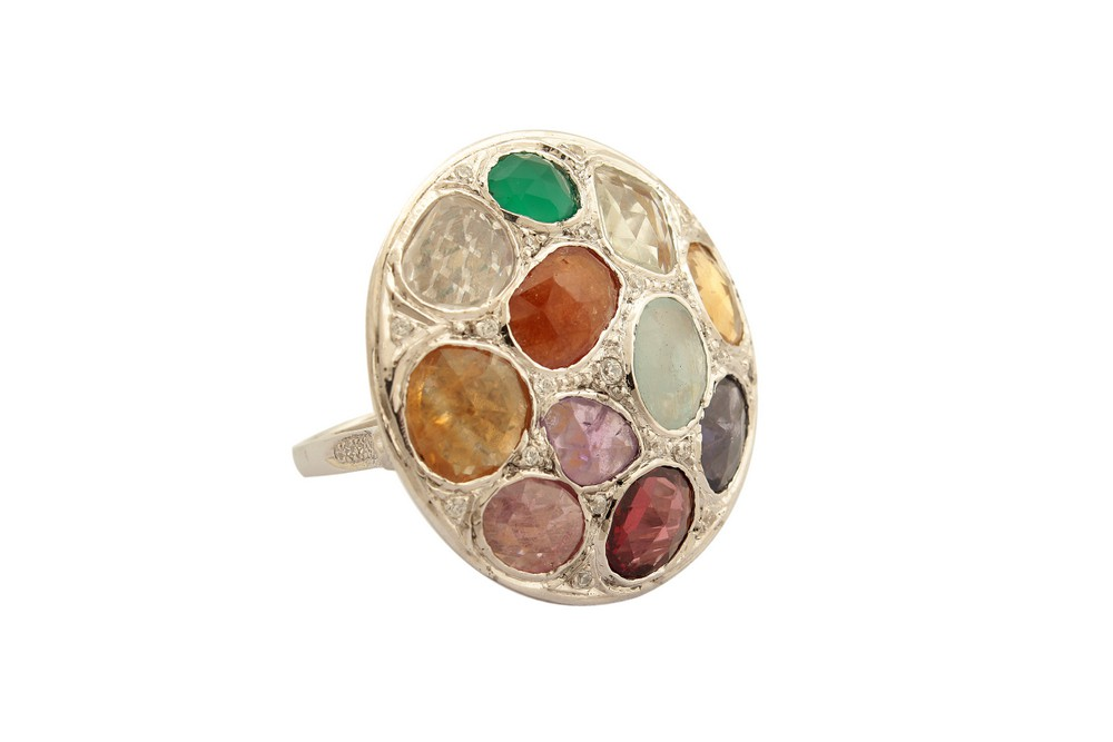 Silver White Gold Plated Assorted Gemstone Umbrella Ring