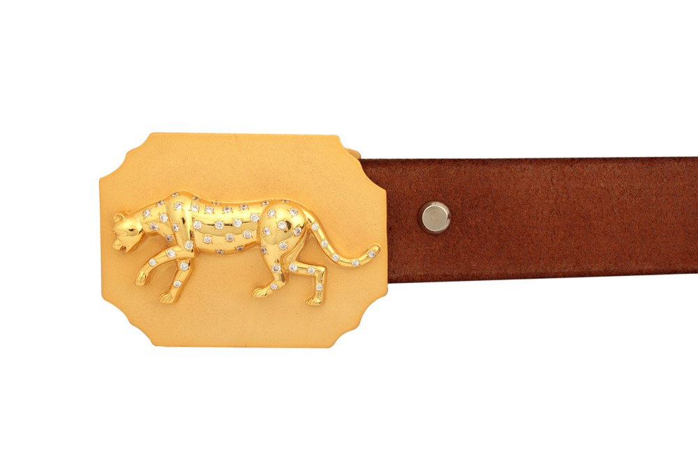 Gold Plated Zircon Panther Octagon Belt Buckle