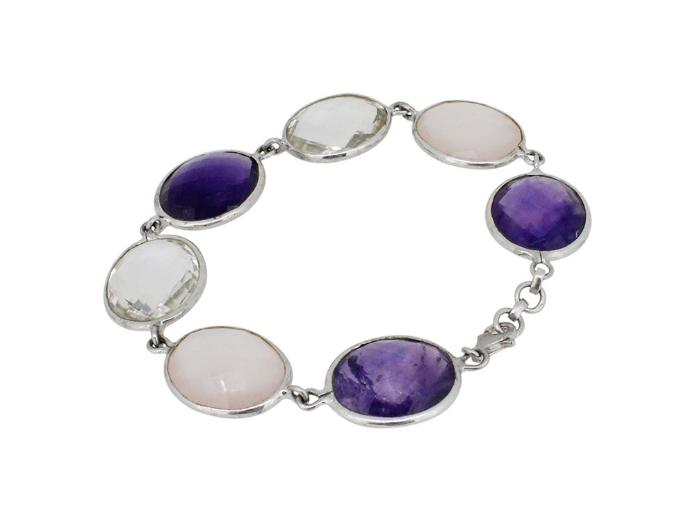 Silver Oval Multi Gemstone Bracelet