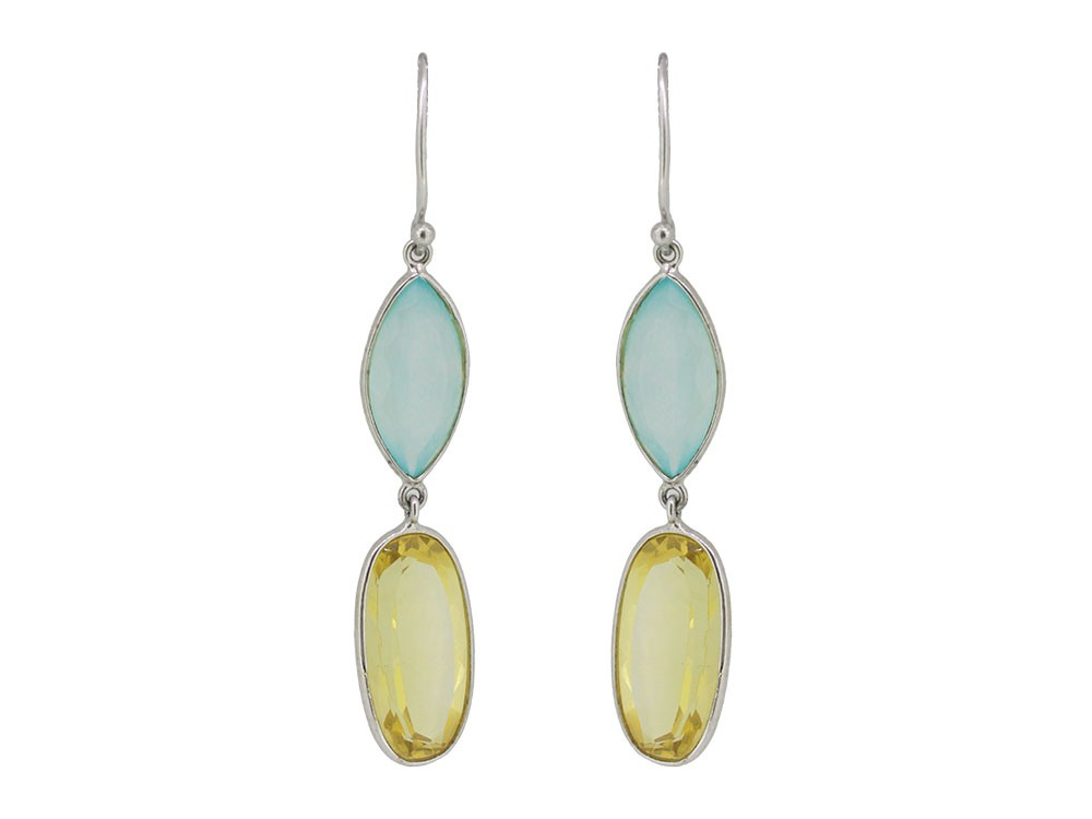 Silver Lemon Quartz & Aqua Blue Chalcedony Earring