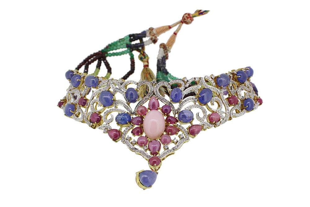 Silver Gold Plated Tenzanite, Pink Opal, Ruby & Zircon Necklace Set