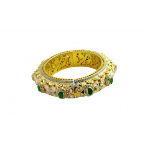 Silver Gold Plated Crystal Polki, Green Onyx & Zircon Bangle