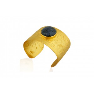 Silver Alloy Gold Plated Lapis Handcraft Handcuff