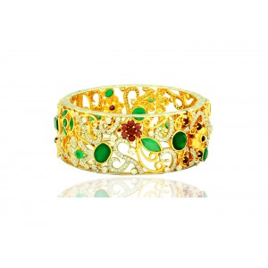 Silver Gold Plated Green Onyx, Garnet & Zircon Designer Bangle
