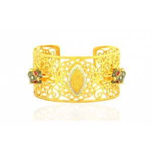 Silver Gold Plated Garnet & Zircon Tiger handcuff