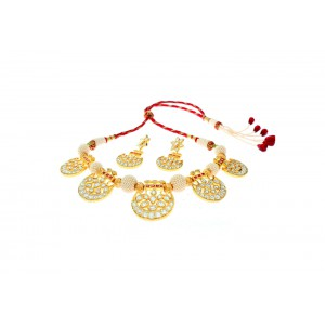 Silver Gold Plated Ruby, Morzanite Polki & Zircon Necklace Set