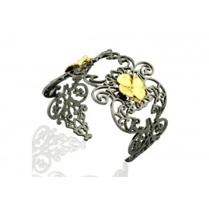 Silver Alloy Gold Plated with Black Rhodium Designer Floral Handcuff
