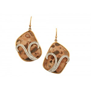 Silver Gold Plated Agate & Zircon Earring