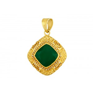 Silver Gold Plated Green Onyx Pendant