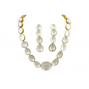 Silver Gold Plated Crystal Polki Necklace Set