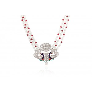 Silver Ruby  & Crystal Polki Pearl Beads Peacock Necklace