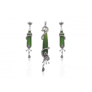 Silver Black Rhodium Green Onyx & Zircon Pendant Set