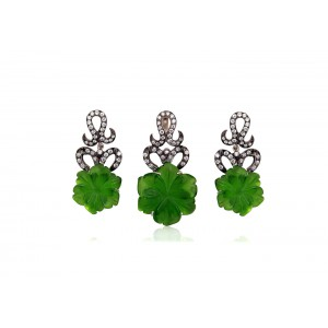 Silver Green Flower Fancy & Zircon Pendant Set