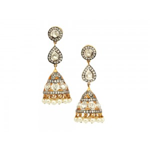 Silver Gold Plated Crystal Polki & Pearl Jhumki Earrings