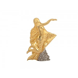 Silver Gold Plated with Black Rhodium Zircon Virgin Lady Brooch