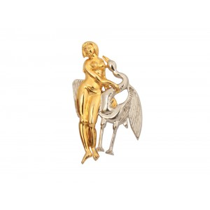 Silver Gold Plated Virgin Lady with Duck Designer Brooch