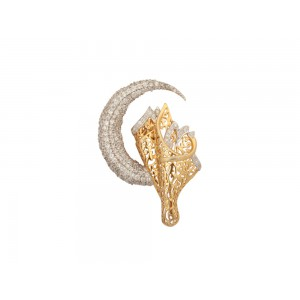 Silver Gold Plated Half Moon Floral Zircon Brooch