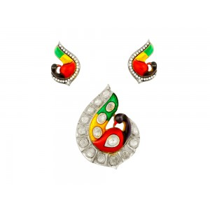 Silver Gold Plated with Meena Work Crystal Polki & Zircon Pendant Set