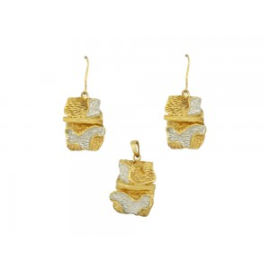 Silver Gold Plated Mesh Pendant Set