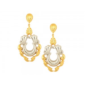 Silver Gold Plated Half Moon Floral Dangler Earring