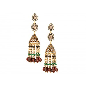 Silver Gold Plated Multi Colour Gemstone Dangler Jhumki
