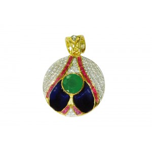 Silver Gold Plated Ruby, Green Onyx & Zircon Pendant