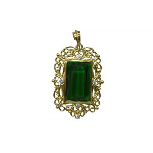 Silver Gold Plated Green Onyx Filigree Pendant