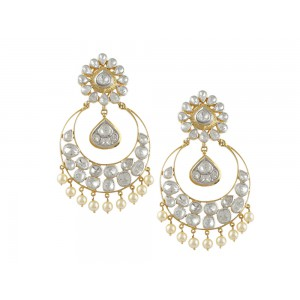 Silver Gold Plated Crystal Polki with Pearl Beads Earring