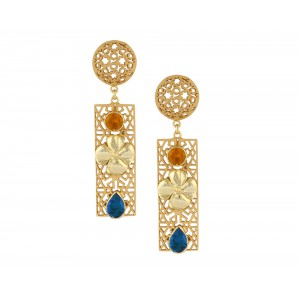 Silver Alloy Gold Plated Citrine Hydro & Blue Topaz Hydro Earring