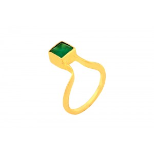 Silver Gold Plated Green Onyx Ring