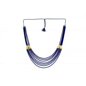 Silver Alloy Gold Plated  Crab Indigo Beads Necklace