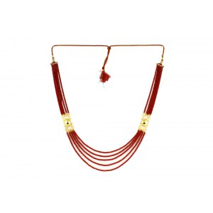 Silver Alloy Gold Plated Red Beads Necklace
