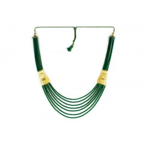 Silver Alloy Gold Plated Filigree Green Beads Necklace