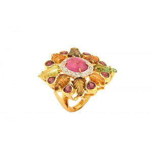 Silver Gold Plated Ruby, Garnet, Tourmaline & Diamond Designer Ring