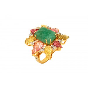 Silver Gold Plated Emerald Carving, Tourmaline & Diamond Designer Ring