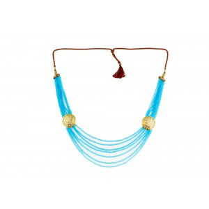 Silver Alloy Gold Plated Sky Blue Beads Necklace