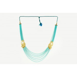 Silver Alloy Gold Plated Floral Sky Blue Beads Necklace