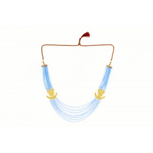 Silver Alloy Gold Plated Light Blue Beads Necklace