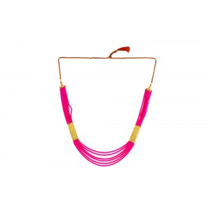 Silver Alloy Gold Plated Pink Beads Necklace