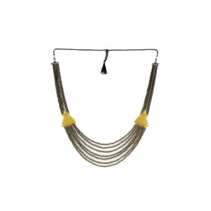 Silver Alloy Gold Plated Dark Grey Beads Necklace