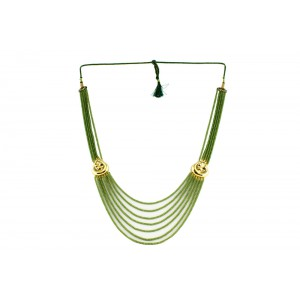 Silver Alloy Gold Plated Floral Light Green Beads Necklace