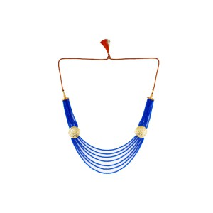 Silver Alloy Gold Plated Jali Blue Beads Necklace