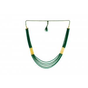 Silver Alloy Gold Plated Star Green Beads Necklace